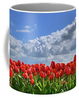 Long Row Of Red Tulips Coffee Mug by Mihaela Pater