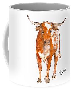 Texas Red Longhorn Watercolor Painting By Kmcelwaine Coffee Mug