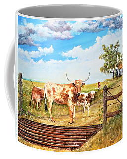 Longhorn Stand Off Your Place Or Mine Coffee Mug
