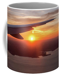 Looking At Sunset From Airplane Window With Lake In The Backgrou Coffee Mug