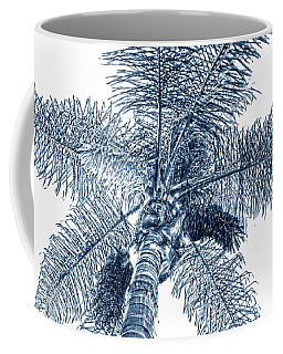 Coffee Mug featuring the photograph Looking Up At Palm Tree Blue by Ben and Raisa Gertsberg