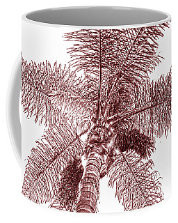 Coffee Mug featuring the photograph Looking Up At Palm Tree Red by Ben and Raisa Gertsberg
