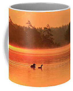 Loon And Chick At Sunrise Coffee Mug