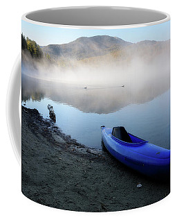 Coffee Mug featuring the photograph Loons Crossing by Brad Wenskoski