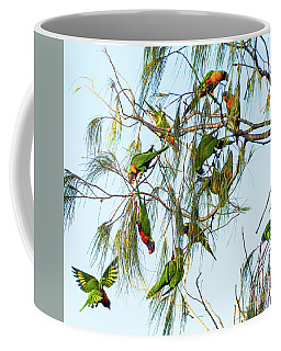 Lorikeets Swarming From Tree To Tree Coffee Mug