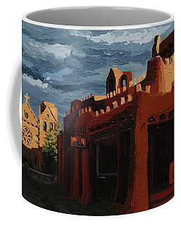 Coffee Mug featuring the painting Los Farolitos,the Lanterns, Santa Fe, Nm by Erin Fickert-Rowland