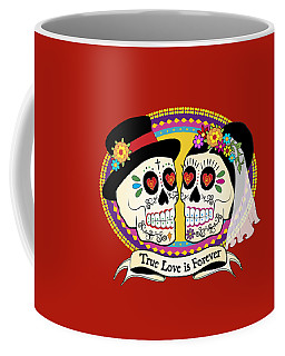 Los Novios Sugar Skulls Coffee Mug by Tammy Wetzel