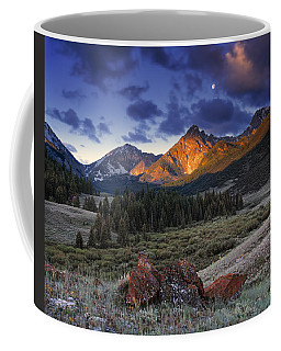 Lost River Mountains Moon Coffee Mug by Leland D Howard