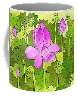 Coffee Mug featuring the painting Lotus And Waterlilies by Suzy Mandel-Canter