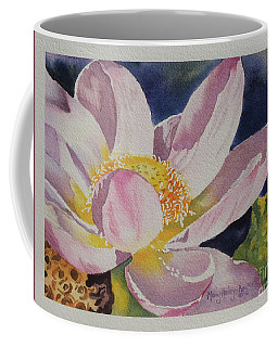 Coffee Mug featuring the painting Lotus Bloom by Mary Haley-Rocks