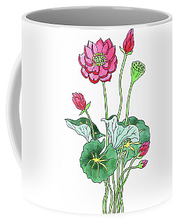 Lotus Flower Watercolor Coffee Mug