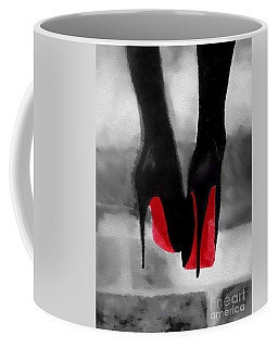 Louboutin At Midnight Black And White Coffee Mug by Rebecca Jenkins
