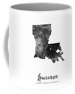 Louisiana State Map Art - Grunge Silhouette Coffee Mug