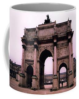 Coffee Mug featuring the photograph Louvre Museum Entrance Courtyard Arc De Triomphe Arch Landmark - Paris Louvre Museum Architecture by Kathy Fornal