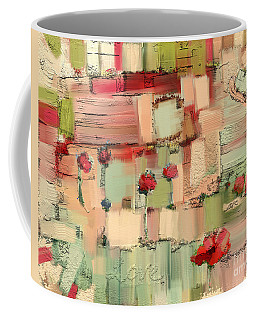 Coffee Mug featuring the mixed media Love Abstract by Carrie Joy Byrnes