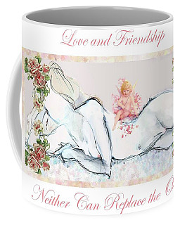 Coffee Mug featuring the mixed media Love And Friendship - Valentine Card by Carolyn Weltman