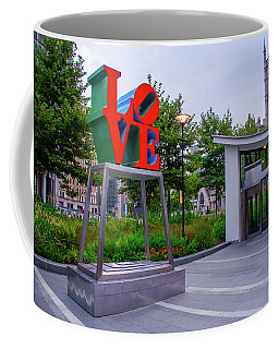 Coffee Mug featuring the photograph Love At Dilworth Plaza - Philadelphia by Bill Cannon
