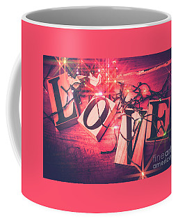 Love Birds And Wooden Sentiments Coffee Mug