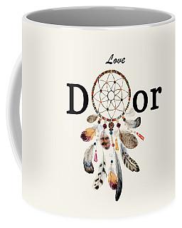 Coffee Mug featuring the painting Love Dior Watercolour Dreamcatcher by Georgeta Blanaru