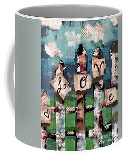 Coffee Mug featuring the mixed media Love Fence by Carrie Joy Byrnes