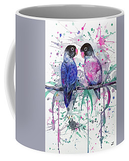 Coffee Mug featuring the painting Love Is In The Air. Lovebirds by Zaira Dzhaubaeva