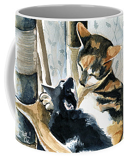 Coffee Mug featuring the painting Love Me Tender - Cat Painting by Dora Hathazi Mendes