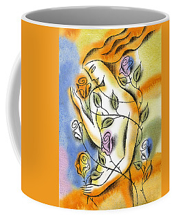 Coffee Mug featuring the painting Love, Roses And Thorns by Leon Zernitsky
