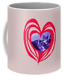 Loveheart Kitty Coffee Mug by Mary Armstrong