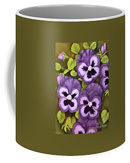 Lovely Purple Pansy Faces Coffee Mug by Inese Poga