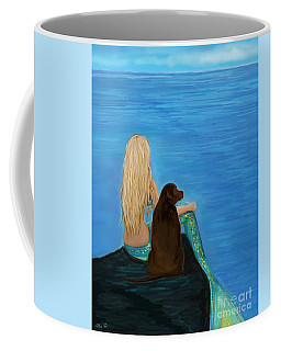 Coffee Mug featuring the painting Loving Lab Loyalty by Leslie Allen