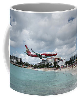 Low Landing At Sonesta Maho Beach Coffee Mug by Nick Mares