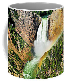Coffee Mug featuring the photograph Lower Falls Rainbow by Greg Norrell