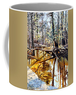 Coffee Mug featuring the painting  Lubianka-2-river by Henryk Gorecki