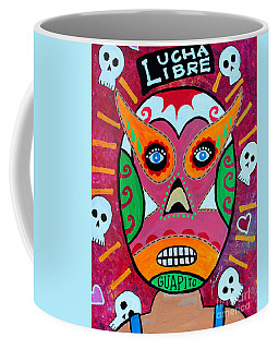 Coffee Mug featuring the painting Lucha Libre by Pristine Cartera Turkus