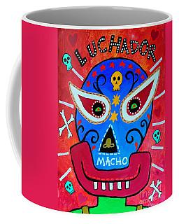 Coffee Mug featuring the painting Luchador by Pristine Cartera Turkus