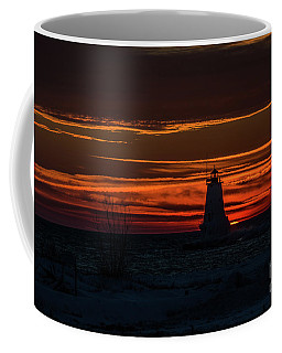 Coffee Mug featuring the photograph Ludington Light Silhouette At Sunset by Sue Smith