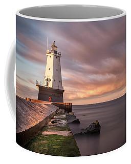 Coffee Mug featuring the photograph Ludington Light Sunrise Long Exposure by Adam Romanowicz
