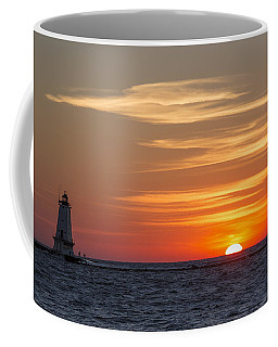 Coffee Mug featuring the photograph Ludington North Breakwater Light At Sunset by Adam Romanowicz