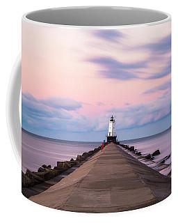 Coffee Mug featuring the photograph Ludington North Breakwater Light Sunrise by Adam Romanowicz