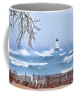 Ludington Winter Shore  Coffee Mug by Dick Bourgault
