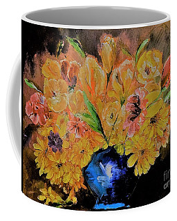 Luminous Yellow Ochre And Red Floral Bouquet Painting Coffee Mug