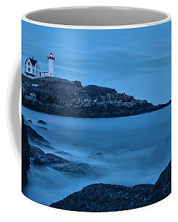 Lunar Perigee Moonrise And Nubble Lighthouse, Cape Neddick, York Coffee Mug