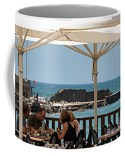 Coffee Mug featuring the photograph Lunch At The Mediterranean by Mae Wertz