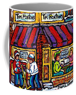 Lunch At Tim Horton's Coffee Shop Hockey Game Montreal Winter City Scene Canadian Art For Sale  Coffee Mug