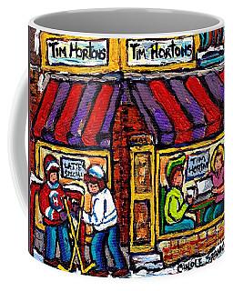 Lunch At Tim Horton's Coffee Shop Hockey Game Montreal Winter City Scene Canadian Art For Sale  Coffee Mug by Carole Spandau