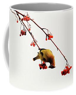 Lunchtime - Cedar Waxwing Coffee Mug by Andrea Kollo