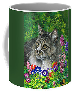 Coffee Mug featuring the painting Lurking In The Lupines by Val Stokes