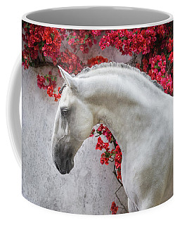 Lusitano Portrait In Red Flowers Coffee Mug