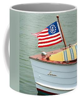 Vintage Mahogany Lyman Runabout Boat With Navy Flag Coffee Mug