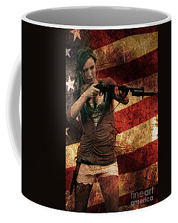 M1 Carbine On American Flag Coffee Mug